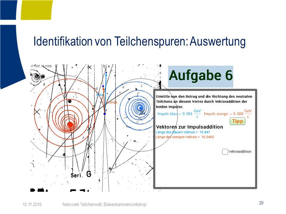 Identifikation von Teilchenspuren: Auswertung