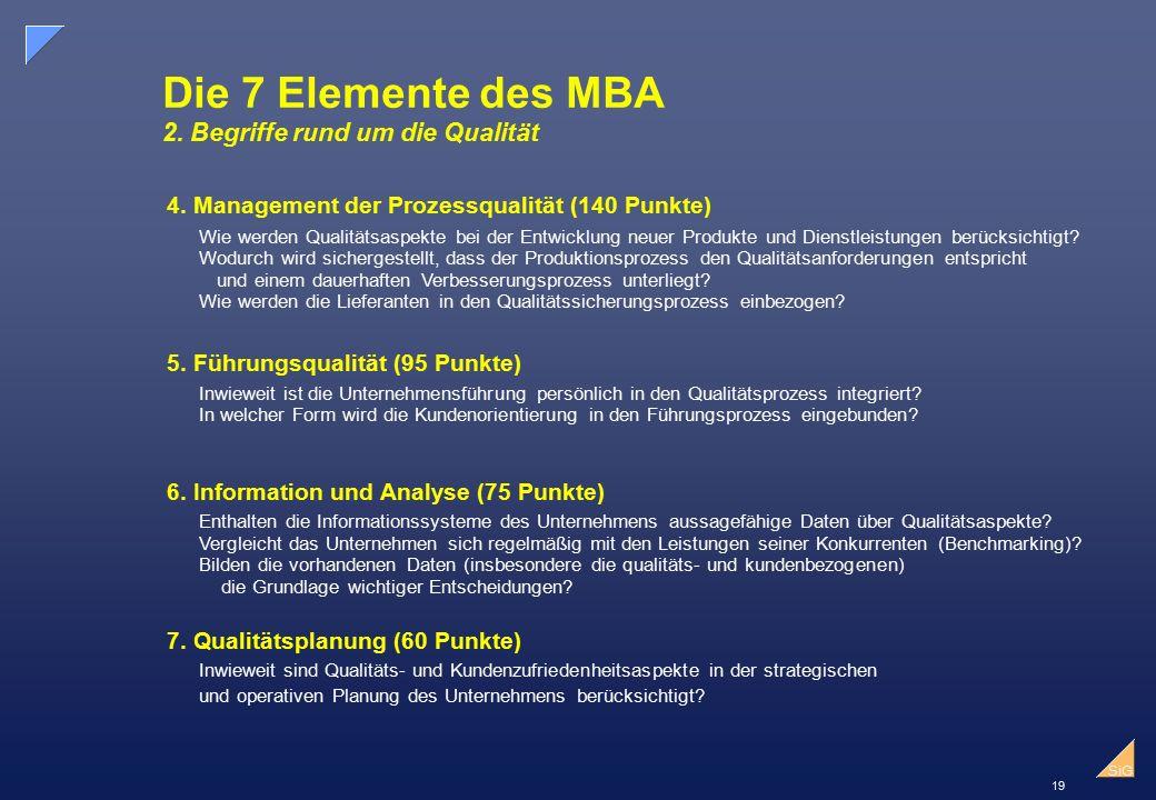 Die 7 Elemente des MBA 2. Begriffe rund um die Qualität