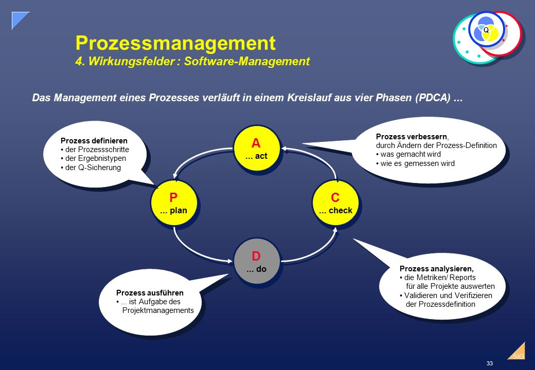 Prozessmanagement 4. Wirkungsfelder : Software-Management
