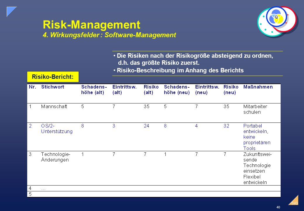 Risk-Management 4. Wirkungsfelder : Software-Management