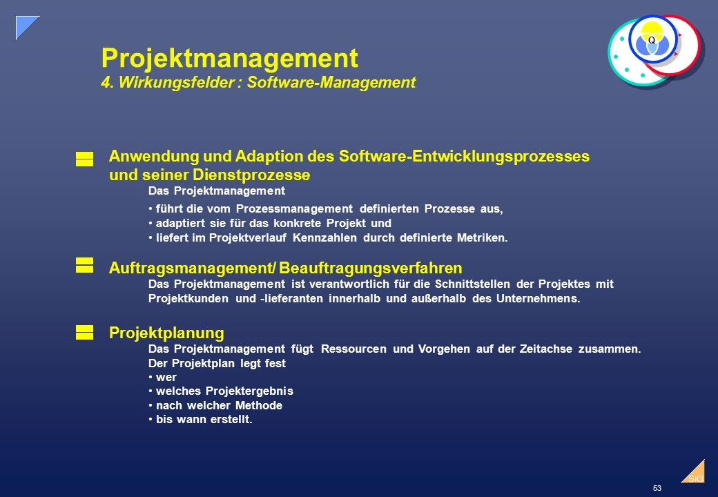 Projektmanagement 4. Wirkungsfelder : Software-Management