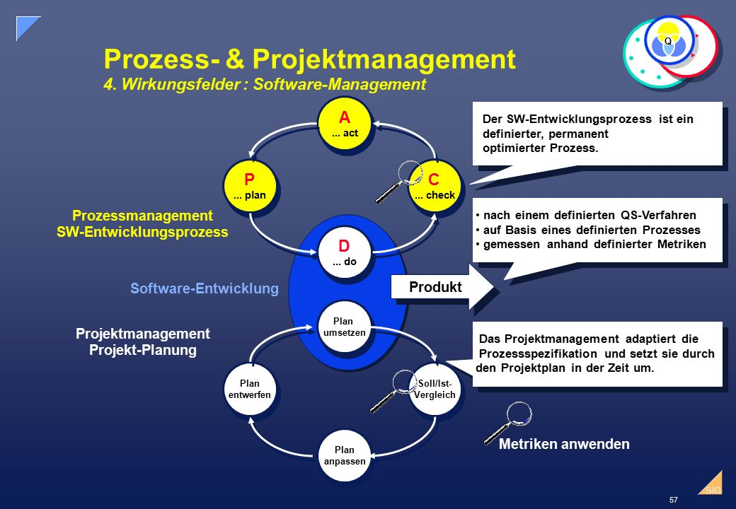 Prozess- & Projektmanagement 4. Wirkungsfelder : Software-Management