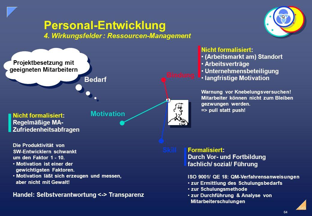 Personal-Entwicklung 4. Wirkungsfelder : Ressourcen-Management