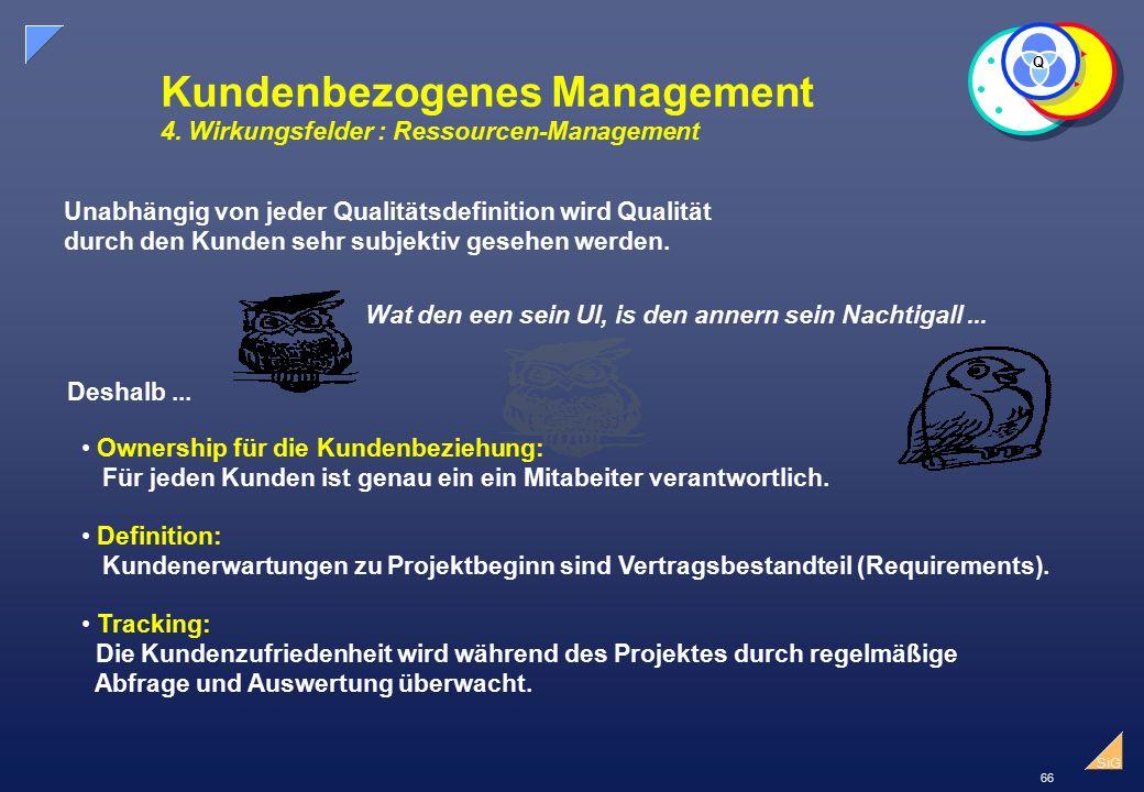 Kundenbezogenes Management 4. Wirkungsfelder : Ressourcen-Management