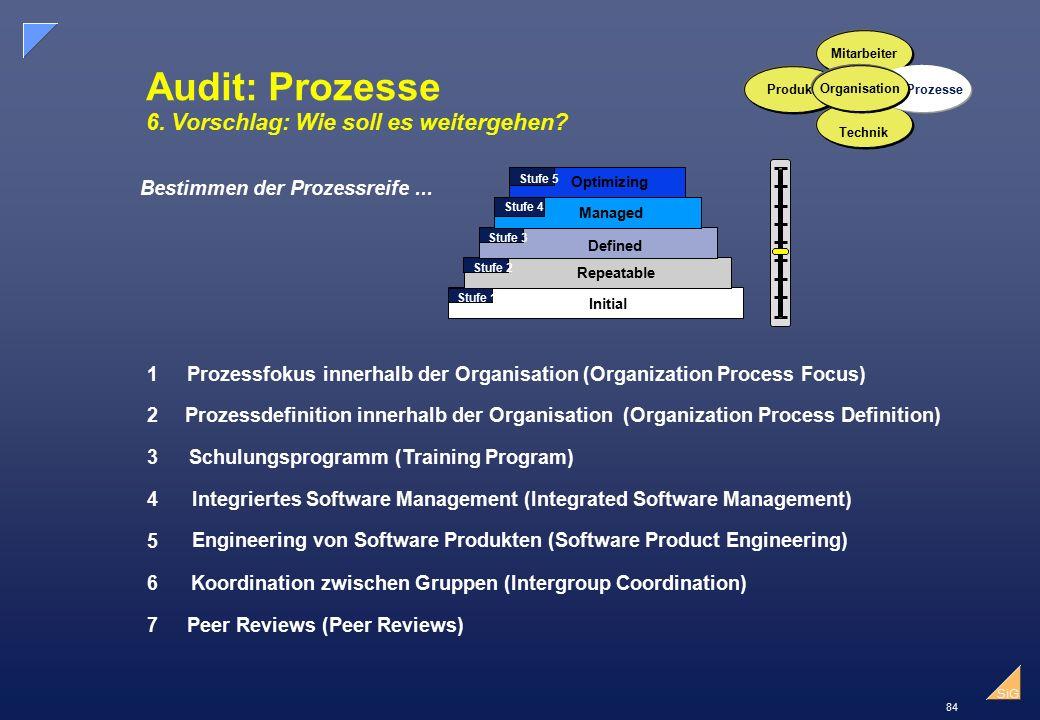 Audit: Prozesse 6. Vorschlag: Wie soll es weitergehen