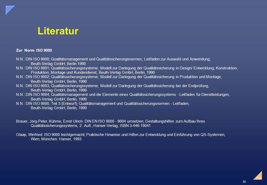 Literatur Zur Norm ISO 9000. N.N.: DIN ISO 9000; Qualitätsmanagement und Qualitätssicherungsnormen, Leitfaden zur Auswahl und Anwendung;