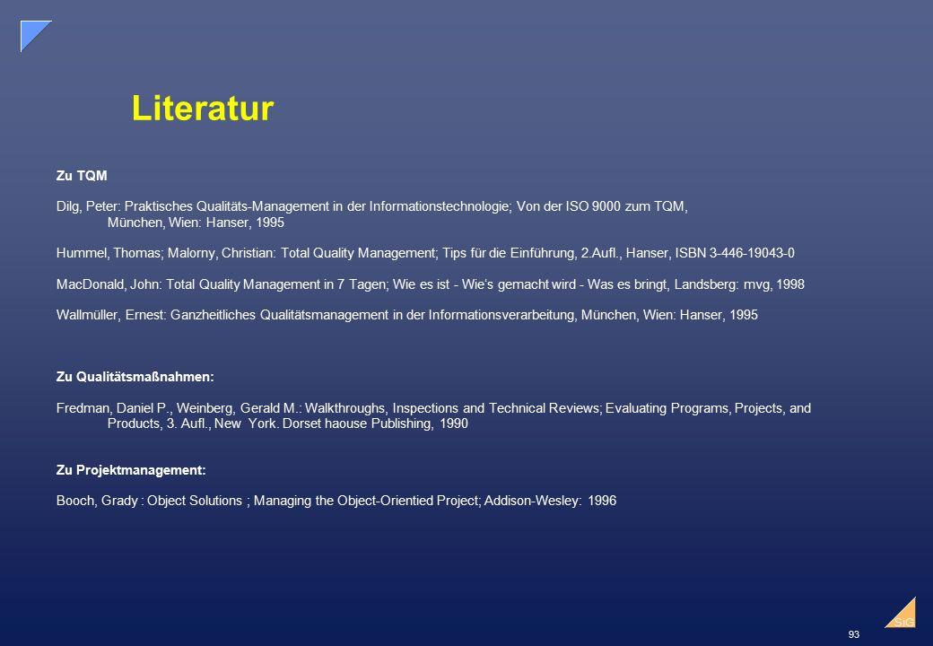 Literatur Zu TQM. Dilg, Peter: Praktisches Qualitäts-Management in der Informationstechnologie; Von der ISO 9000 zum TQM,