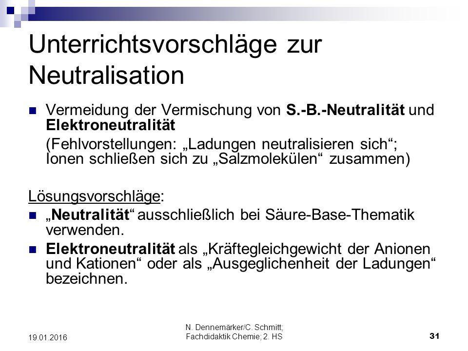 Unterrichtsvorschläge zur Neutralisation