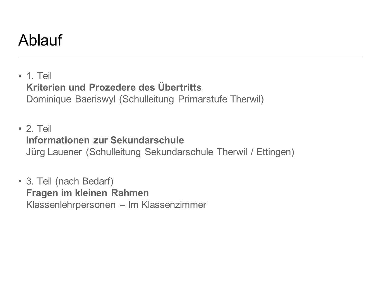 Ablauf 1. Teil Kriterien und Prozedere des Übertritts Dominique Baeriswyl (Schulleitung Primarstufe Therwil)