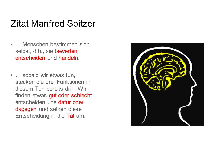 Zitat Manfred Spitzer … Menschen bestimmen sich selbst, d.h., sie bewerten, entscheiden und handeln.