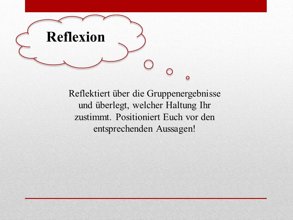 Reflexion Reflektiert über die Gruppenergebnisse und überlegt, welcher Haltung Ihr zustimmt.