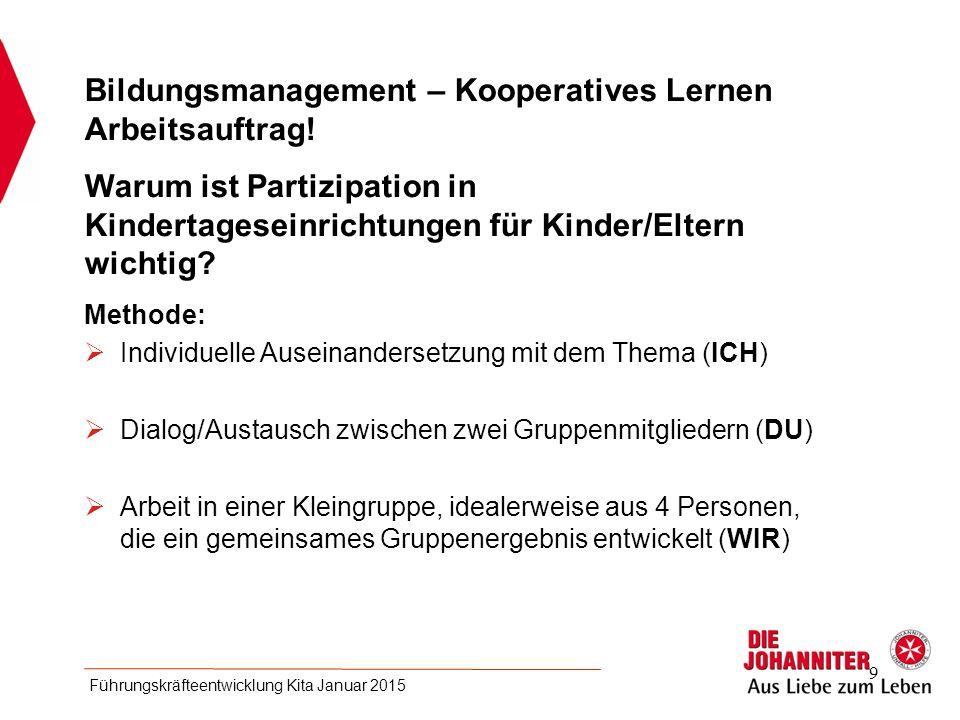 Bildungsmanagement – Kooperatives Lernen Arbeitsauftrag!