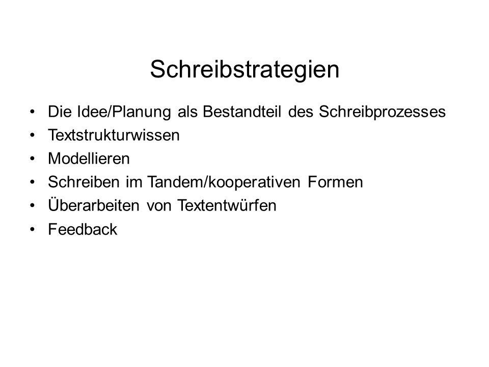 Schreibstrategien Die Idee/Planung als Bestandteil des Schreibprozesses. Textstrukturwissen. Modellieren.