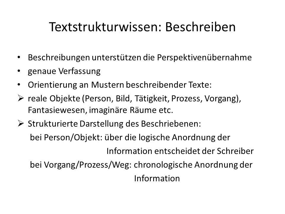 Textstrukturwissen: Beschreiben