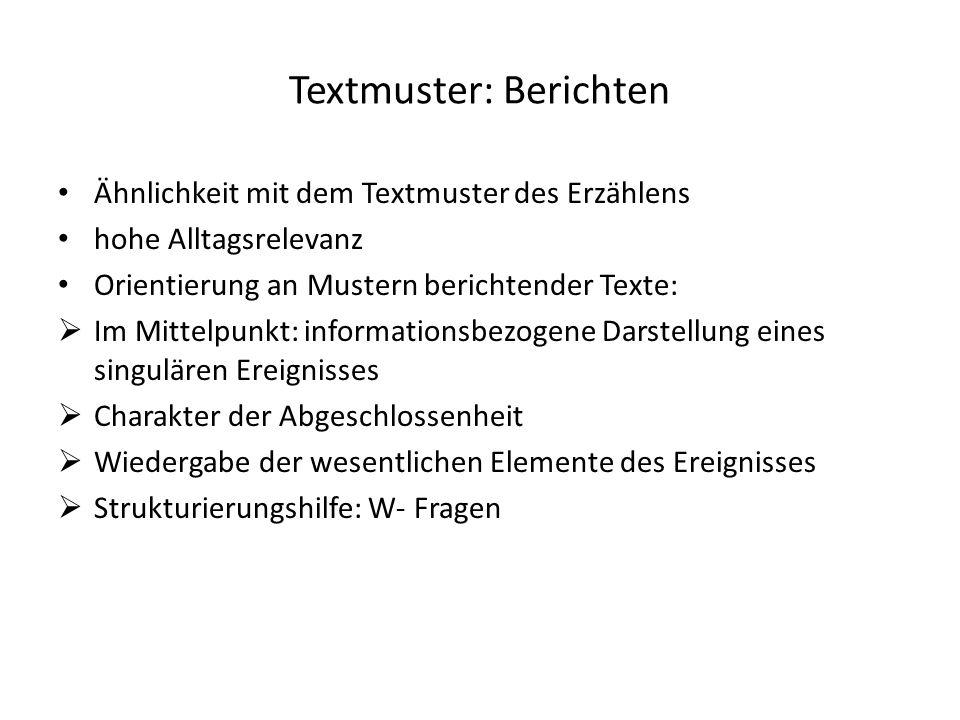 Textmuster: Berichten