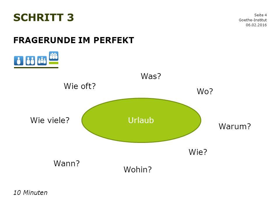 Schritt 3 Fragerunde im Perfekt Was Wie oft Wo Urlaub Wie viele