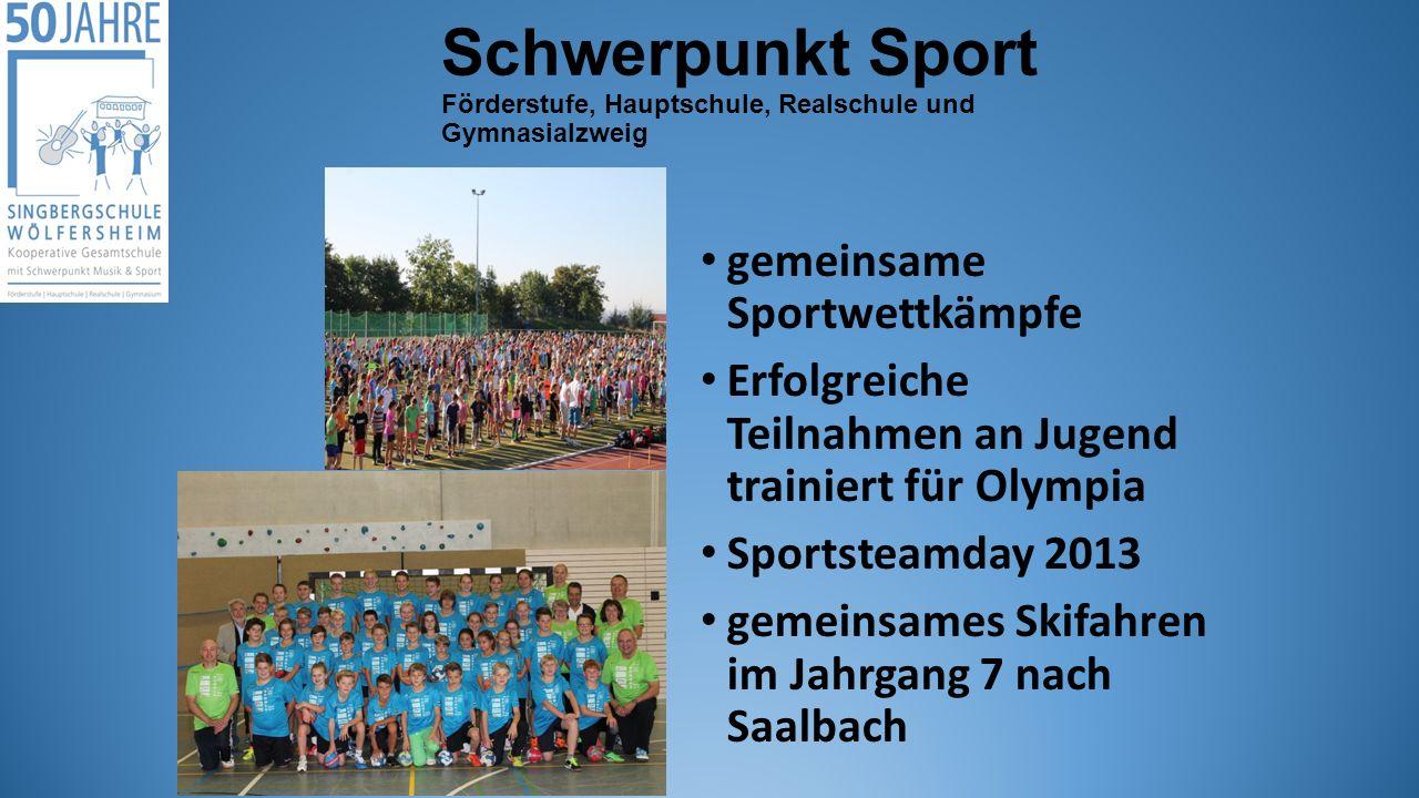 Schwerpunkt Sport Förderstufe, Hauptschule, Realschule und Gymnasialzweig