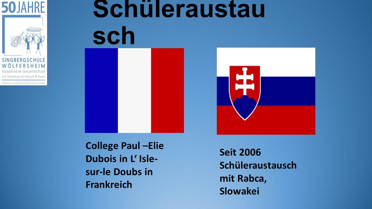 Schüleraustausch College Paul –Elie Dubois in L' Isle-sur-le Doubs in Frankreich.