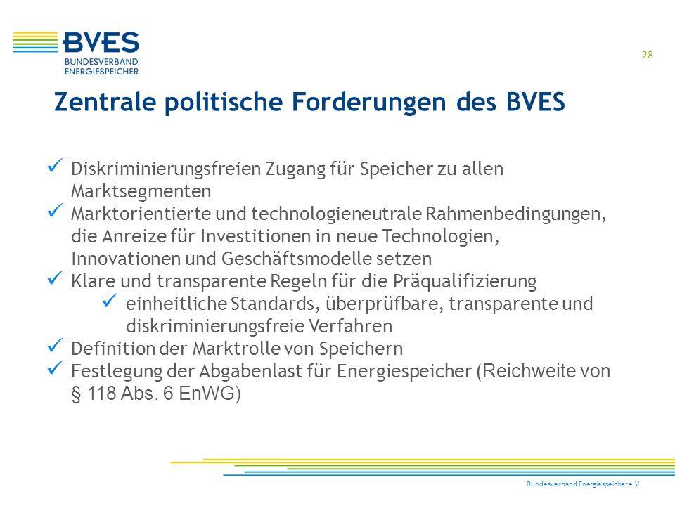 Zentrale politische Forderungen des BVES