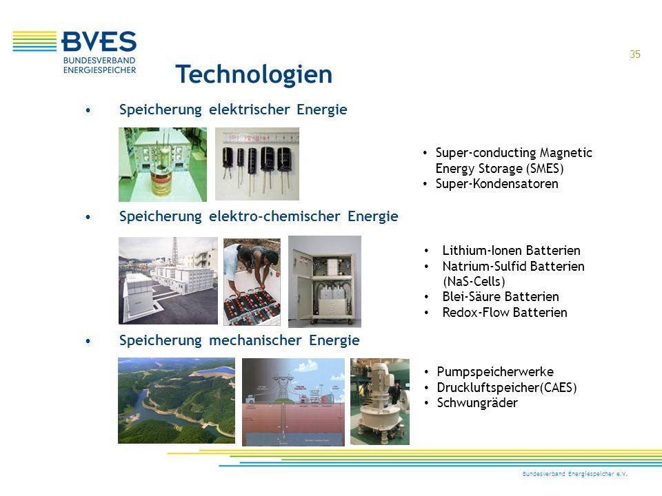 Technologien Speicherung elektrischer Energie