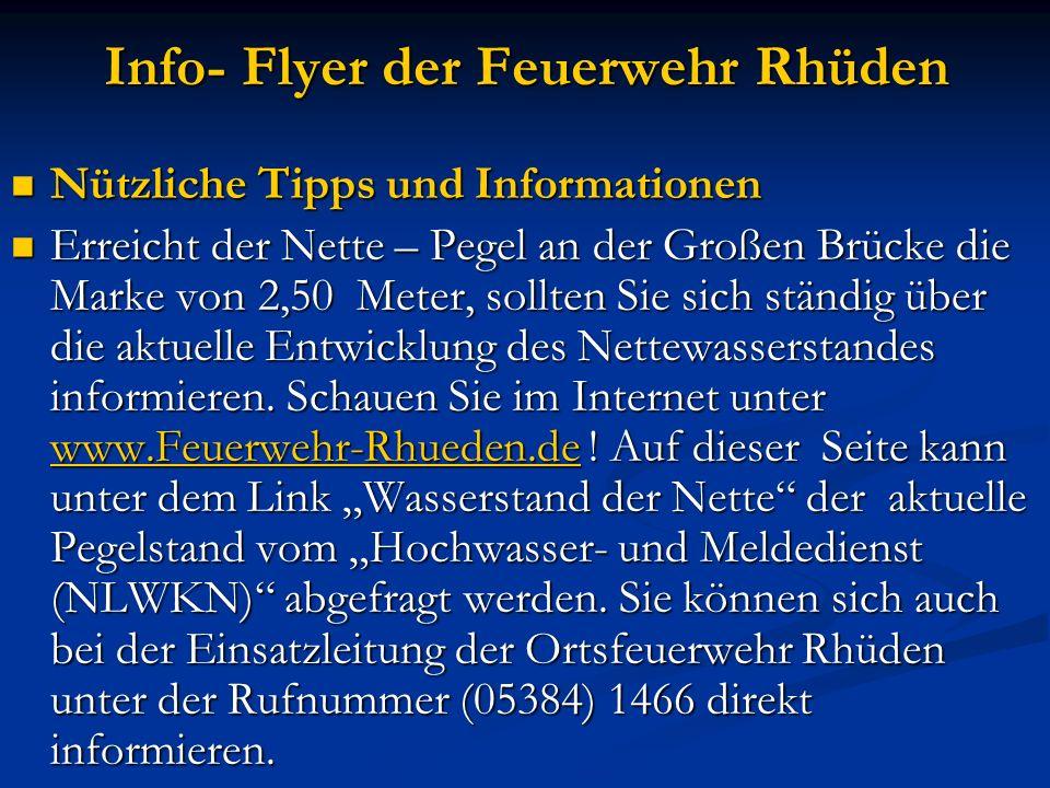 Info- Flyer der Feuerwehr Rhüden