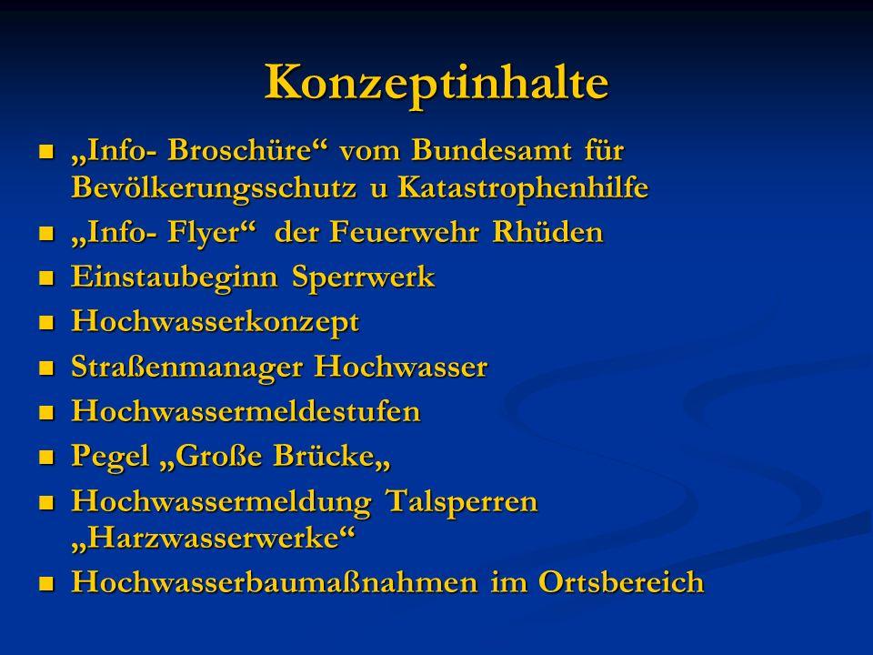 """Konzeptinhalte """"Info- Broschüre vom Bundesamt für Bevölkerungsschutz u Katastrophenhilfe. """"Info- Flyer der Feuerwehr Rhüden."""