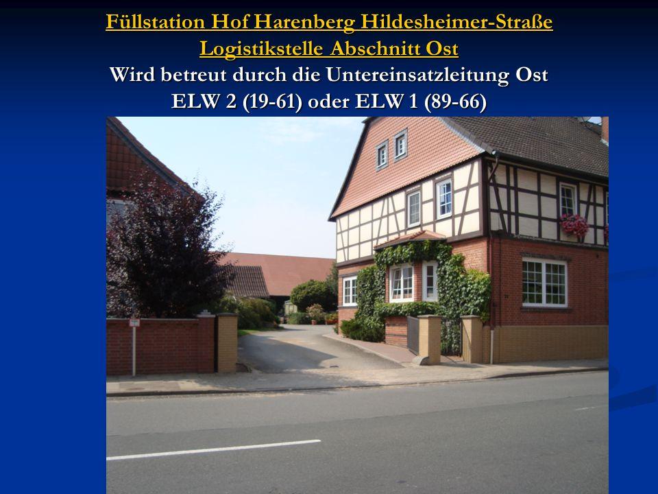 Füllstation Hof Harenberg Hildesheimer-Straße Logistikstelle Abschnitt Ost Wird betreut durch die Untereinsatzleitung Ost ELW 2 (19-61) oder ELW 1 (89-66)