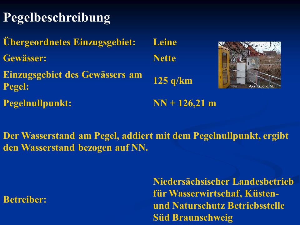 Pegelbeschreibung Übergeordnetes Einzugsgebiet: Leine Gewässer: Nette