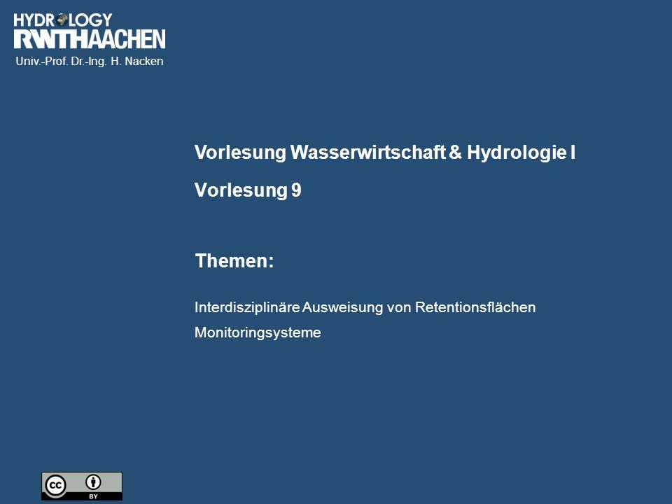 Vorlesung Wasserwirtschaft & Hydrologie I