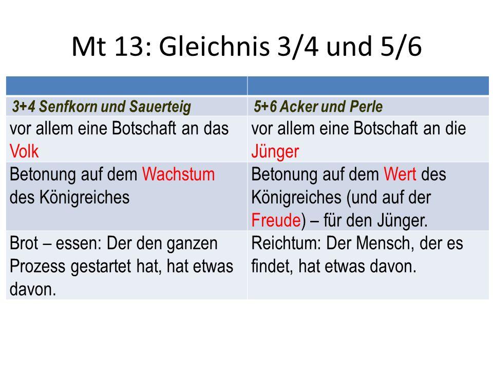 Mt 13: Gleichnis 3/4 und 5/6 vor allem eine Botschaft an das Volk