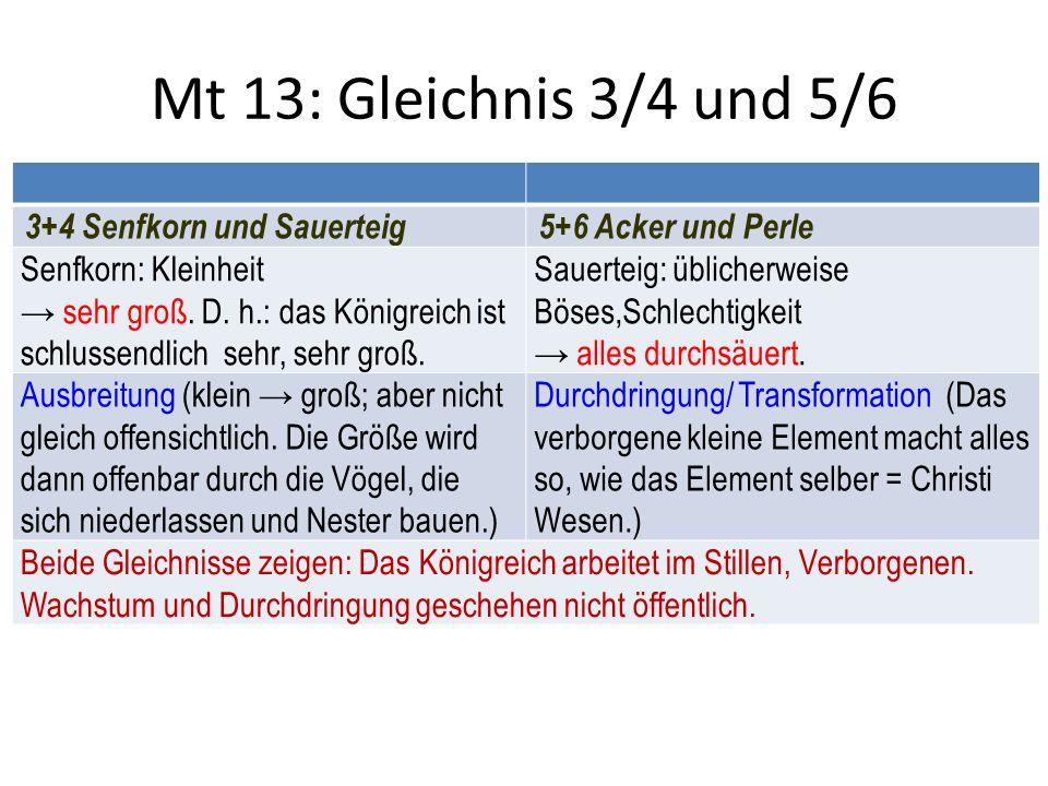 Mt 13: Gleichnis 3/4 und 5/6 3+4 Senfkorn und Sauerteig