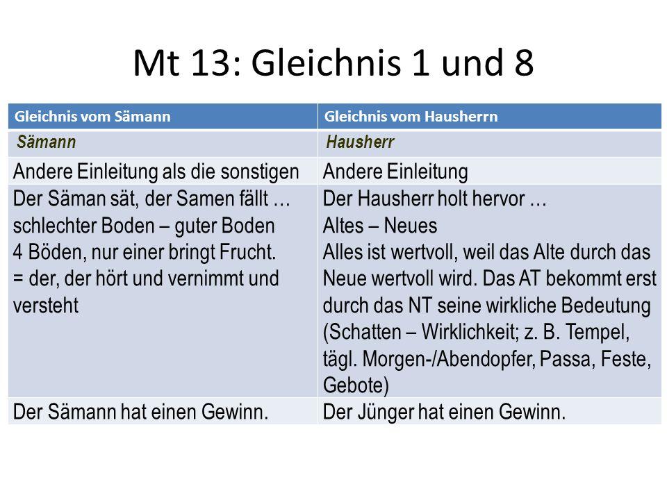 Mt 13: Gleichnis 1 und 8 Andere Einleitung als die sonstigen