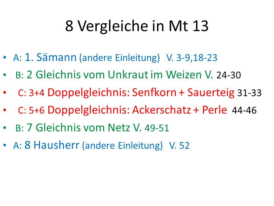 8 Vergleiche in Mt 13 A: 1. Sämann (andere Einleitung) V. 3-9,18-23