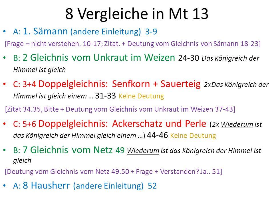 8 Vergleiche in Mt 13 A: 1. Sämann (andere Einleitung) 3-9
