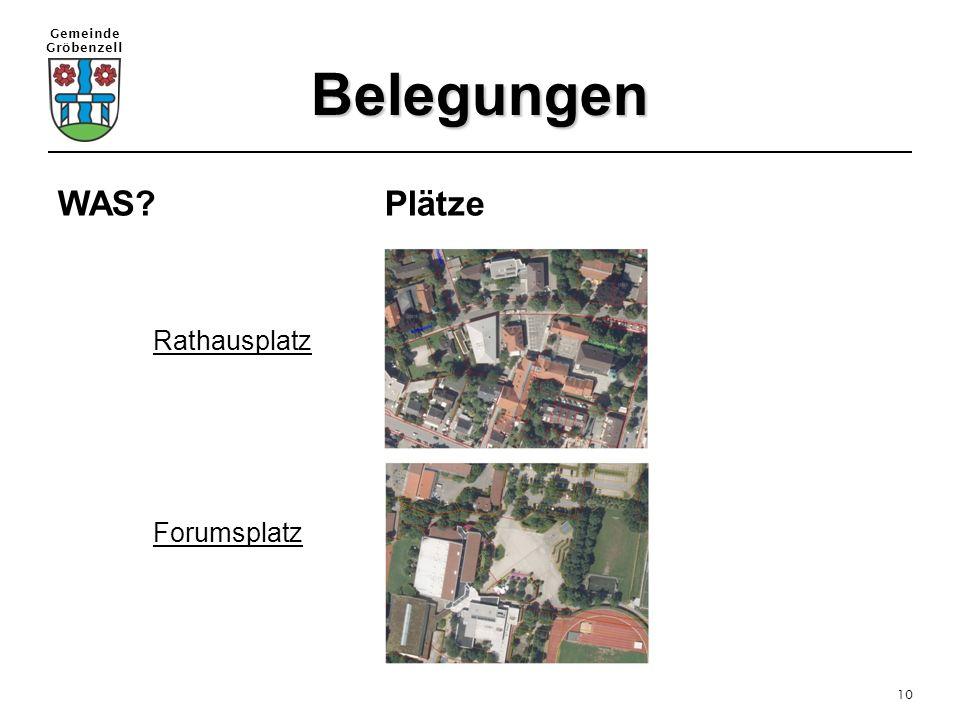Belegungen WAS Plätze Rathausplatz Forumsplatz