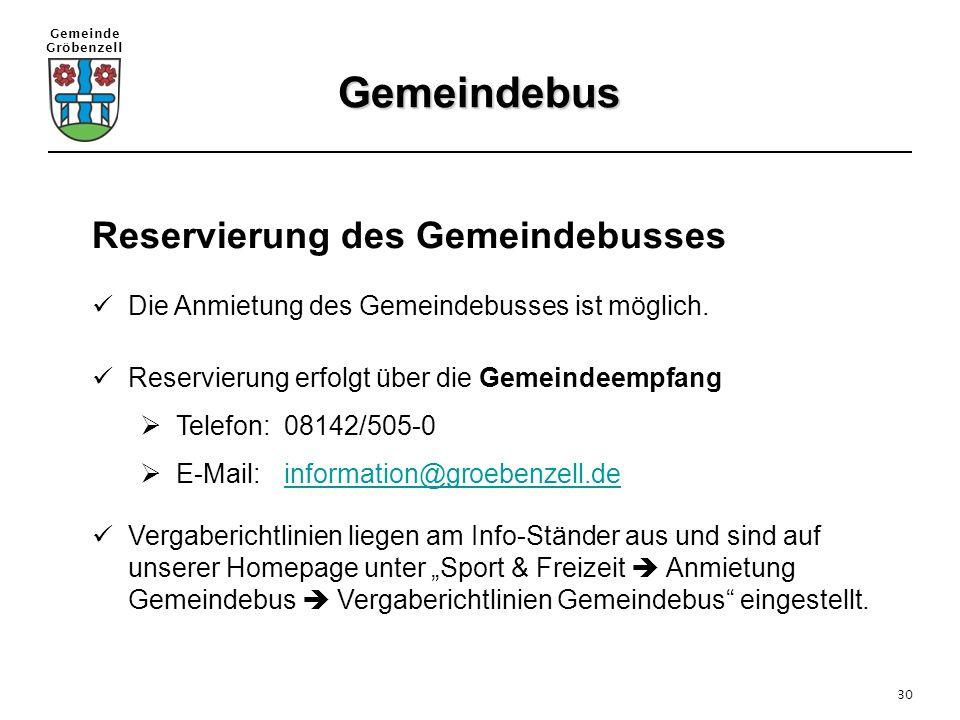 Gemeindebus Reservierung des Gemeindebusses