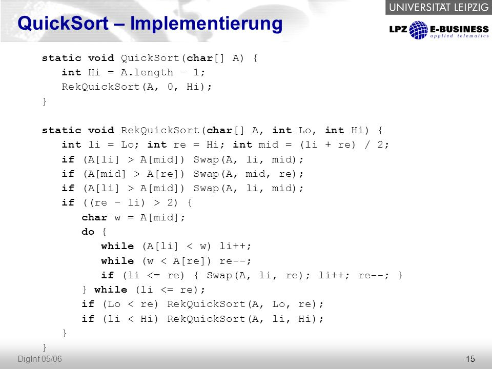 QuickSort – Implementierung