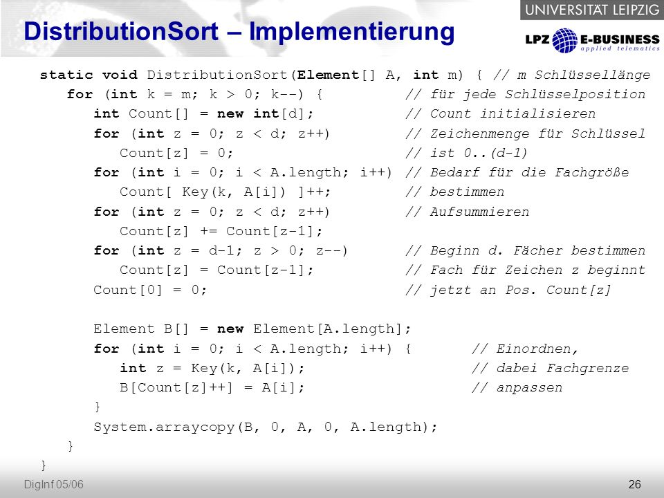 DistributionSort – Implementierung