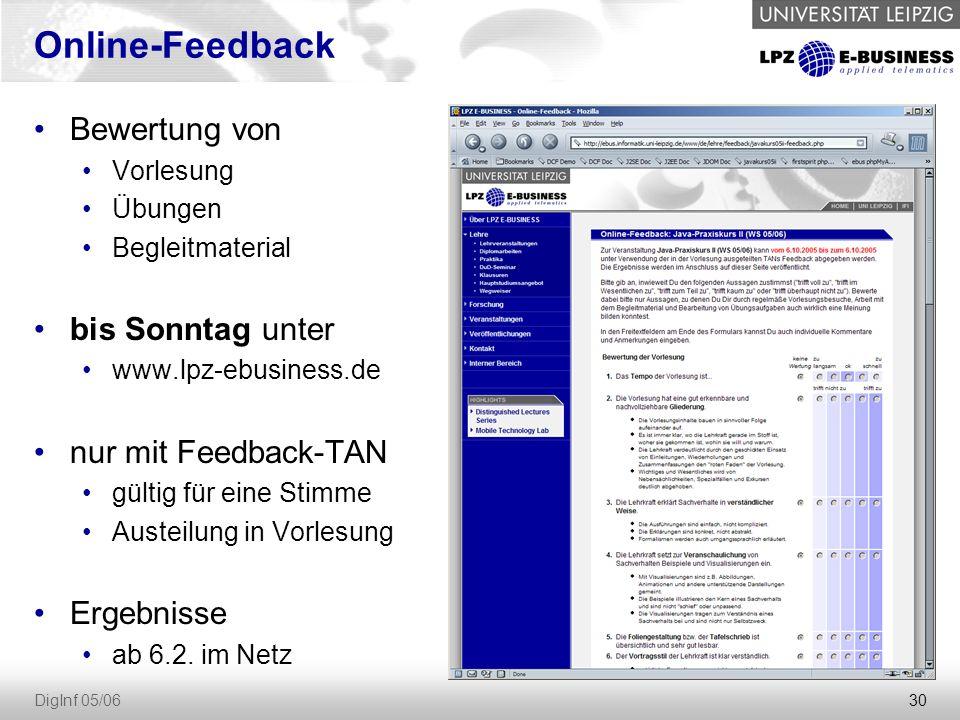 Online-Feedback Bewertung von bis Sonntag unter nur mit Feedback-TAN