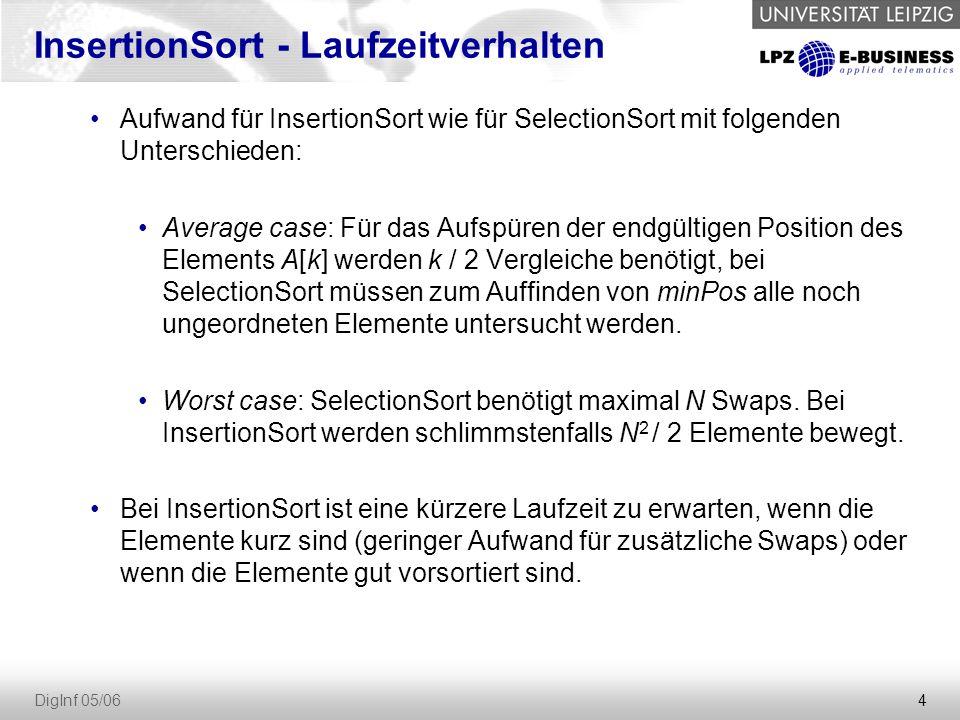 InsertionSort - Laufzeitverhalten