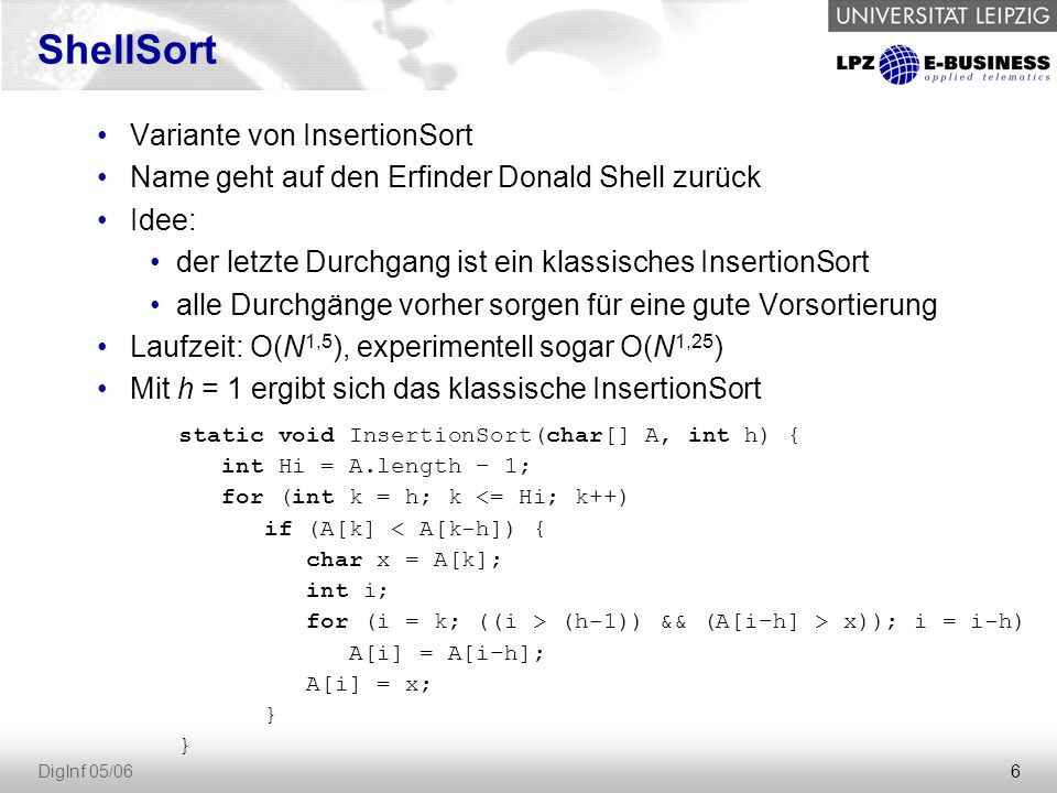 ShellSort Variante von InsertionSort
