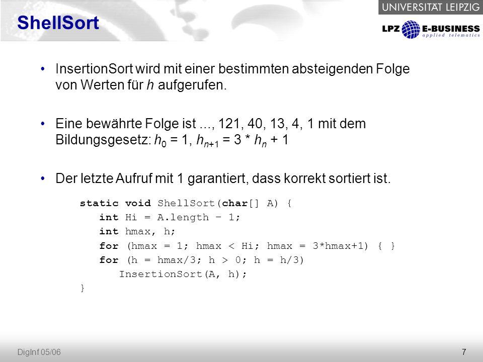 ShellSort InsertionSort wird mit einer bestimmten absteigenden Folge von Werten für h aufgerufen.