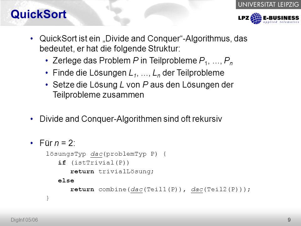 """QuickSort QuickSort ist ein """"Divide and Conquer -Algorithmus, das bedeutet, er hat die folgende Struktur:"""