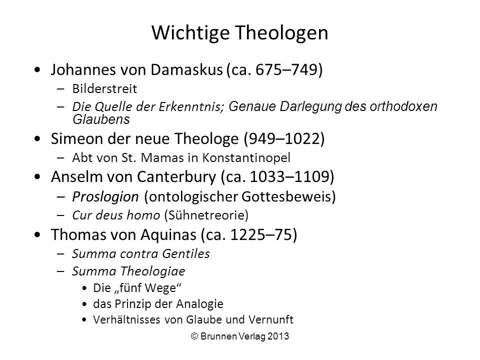 Wichtige Theologen Johannes von Damaskus (ca. 675–749)