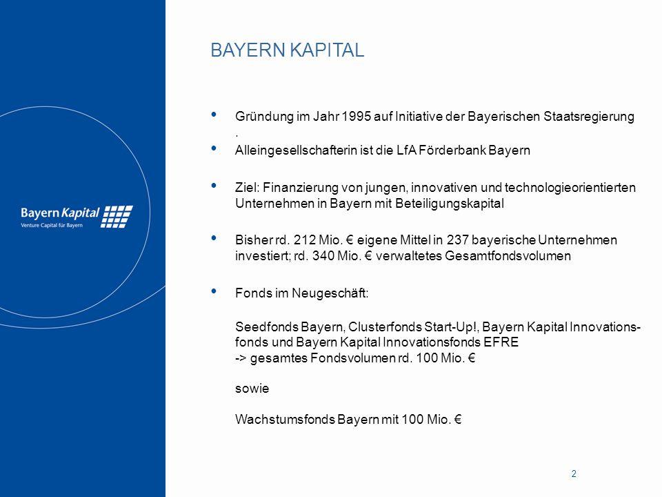 BAYERN KAPITAL Gründung im Jahr 1995 auf Initiative der Bayerischen Staatsregierung . Alleingesellschafterin ist die LfA Förderbank Bayern.