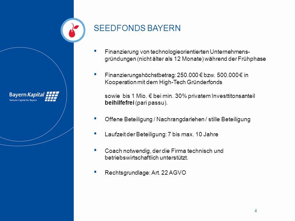 SEEDFONDS BAYERN Finanzierung von technologieorientierten Unternehmens-gründungen (nicht älter als 12 Monate) während der Frühphase.