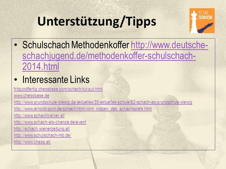 Unterstützung/Tipps Schulschach Methodenkoffer http://www.deutsche-schachjugend.de/methodenkoffer-schulschach-2014.html.
