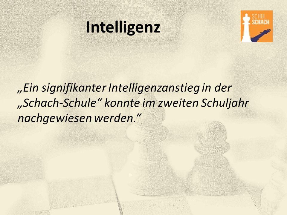 """Intelligenz """"Ein signifikanter Intelligenzanstieg in der """"Schach-Schule konnte im zweiten Schuljahr nachgewiesen werden."""
