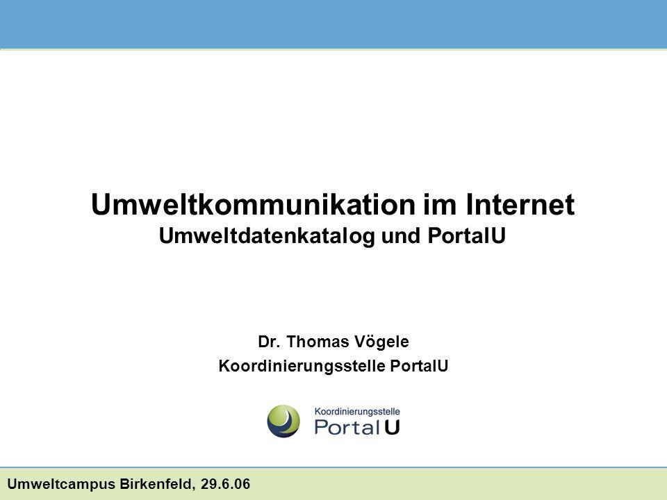 Dr. Thomas Vögele Koordinierungsstelle PortalU