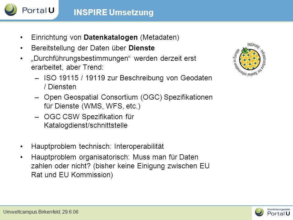 INSPIRE Umsetzung Einrichtung von Datenkatalogen (Metadaten)
